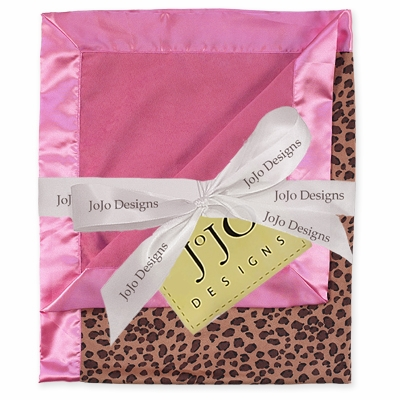 Cheetah Pink Minky Suede and Satin Baby Blanket