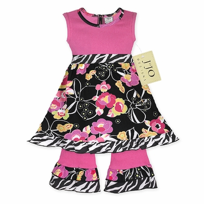 Pink, Black, Floral and Zebra Baby Girls Set or Dress