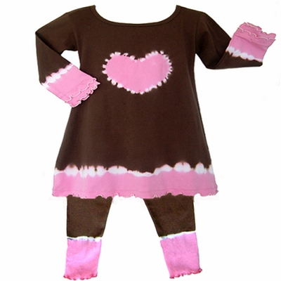 Pink and Brown 2pc Tie Dye Heart Tunic Outfit