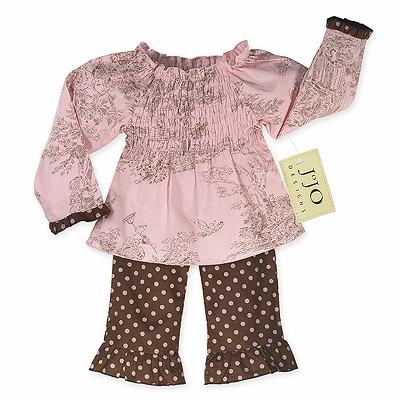 2pc Pink and Brown French Toile and Polka Dot Smocked Baby Outfit