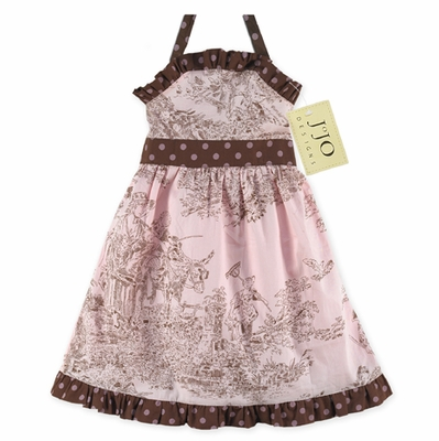 Pink and Brown French Toile Baby Dress