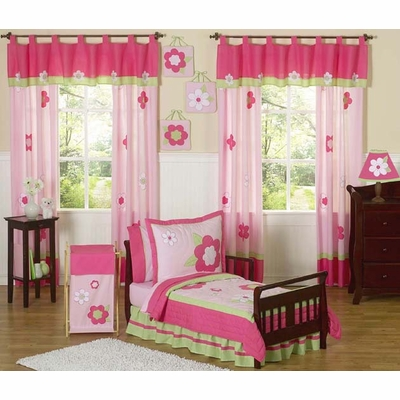 Flower Pink and Green Toddler Bedding Collection