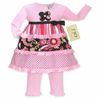 Pink and Black Floral, Stripe and Polka Dot Baby Girls 2pc Outfit or Dress