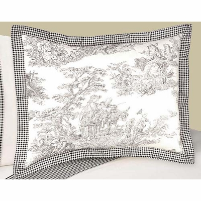 Black Toile Pillow Sham
