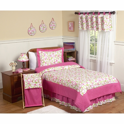 Circles Pink Twin Bedding Collection