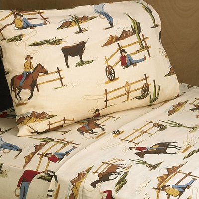 Wild West Cowboy Queen Sheet Set - Horse Print