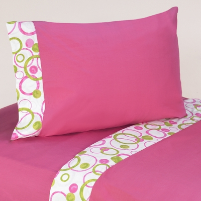 Circles Pink Twin Sheet Set