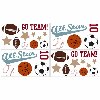 All Star Sports Wall Decals - Set of 4 Sheets