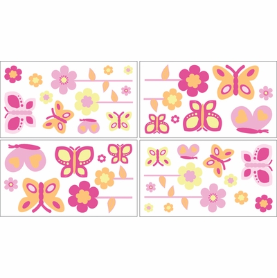 Butterfly Pink and Orange Wall Decals - Set of 4 Sheets