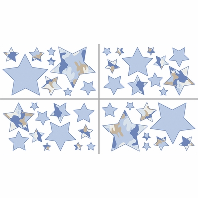 Camo Blue Wall Decals - Set of 4 Sheets