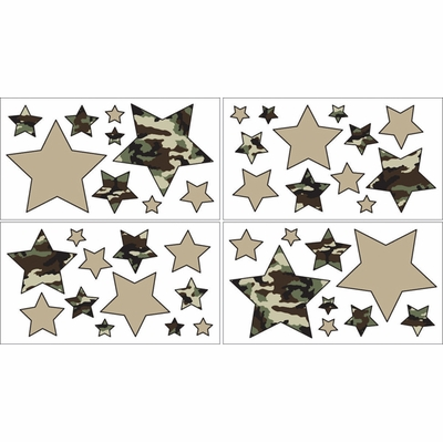 Camo Green Wall Decals - Set of 4 Sheets