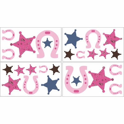 Cowgirl Wall Decals - Set of 4 Sheets