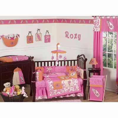 Surf Pink and Orange Crib Bedding Collection