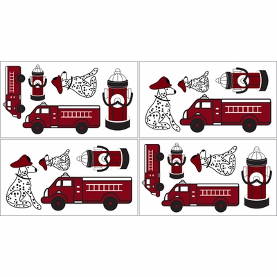 Fire Truck Wall Decals - Set of 4 Sheets