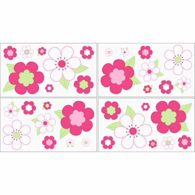 Flower Pink and Green Wall Decals - Set of 4 Sheets