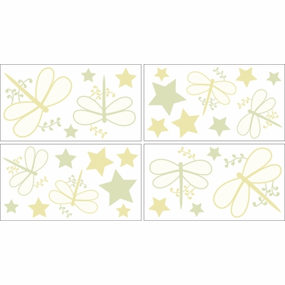 Green Dragonfly Dreams Wall Decals - Set of 4 Sheets