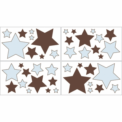 Hotel Blue and Brown Wall Decals - Set of 4 Sheets