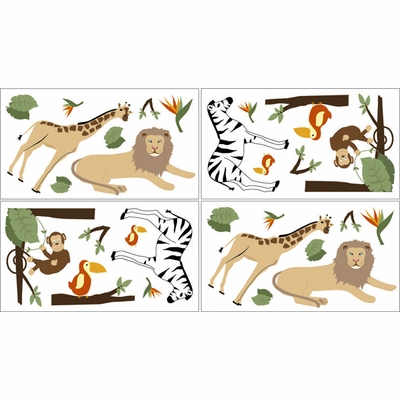 Jungle Adventure Wall Decals - Set of 4 Sheets