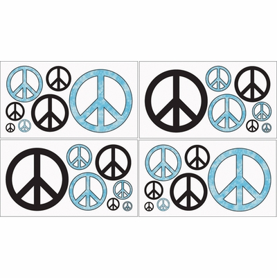 Peace Blue Wall Decals - Set of 4 Sheets