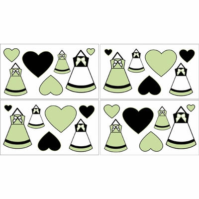 Princess Black, White and Green Collection  Wall Decals - Set of 4 Sheets