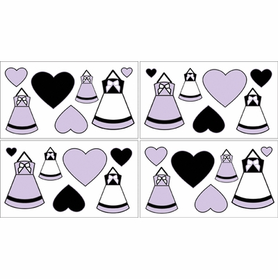 Princess Black, White and Purple Collection  Wall Decals - Set of 4 Sheets