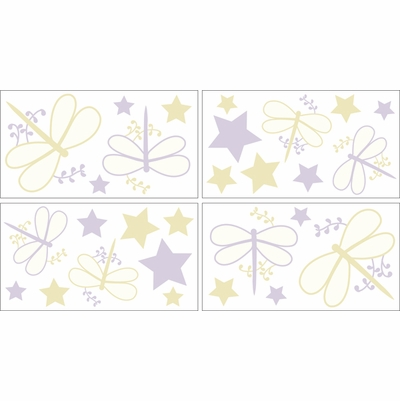 Purple Dragonfly Dreams Wall Decals - Set of 4 Sheets