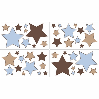 Soho Blue and Brown Wall Decals - Set of 4 Sheets