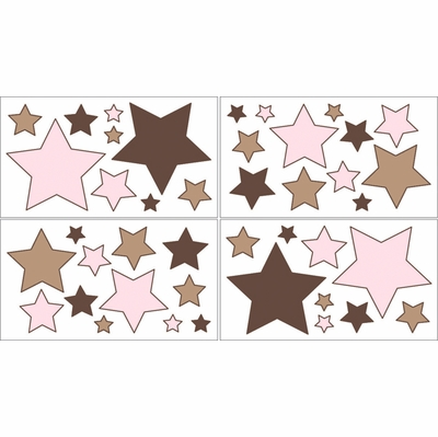 Soho Pink and Brown Wall Decals - Set of 4 Sheets