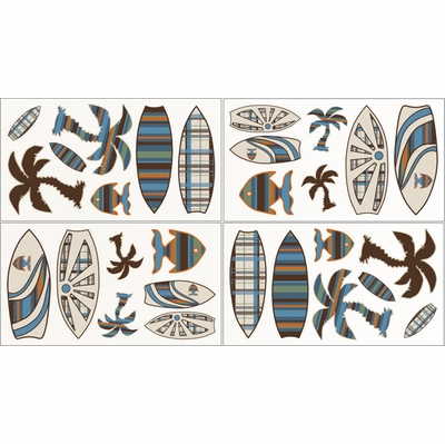 Surf Blue and Brown Wall Decals - Set of 4 Sheets