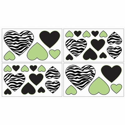 Zebra Lime Wall Decals - Set of 4 Sheets