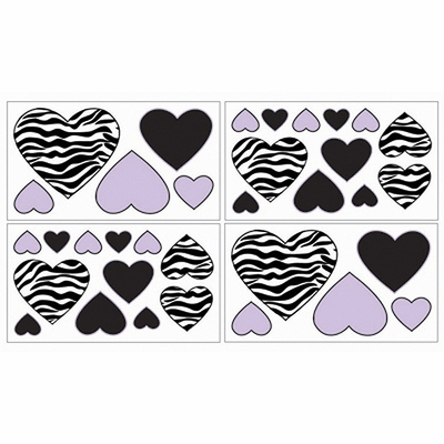 Zebra Purple Wall Decals - Set of 4 Sheets