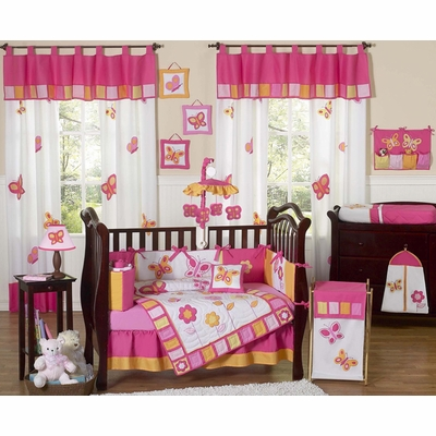Butterfly Pink and Orange 11pc Crib Bedding Collection