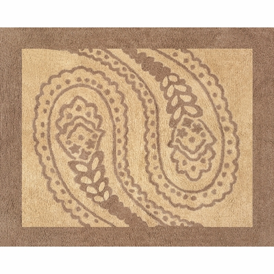 Camel Paisley Accent Floor Rug