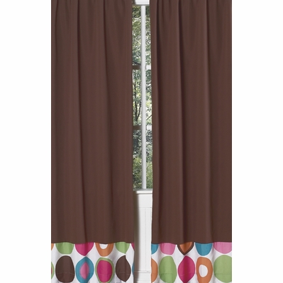 Deco Dot Chocolate Brown Window Panels - Set of 2