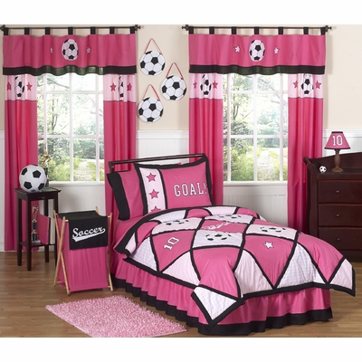 Soccer Pink Twin Bedding Collection