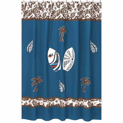 Surf Blue and Brown Shower Curtain