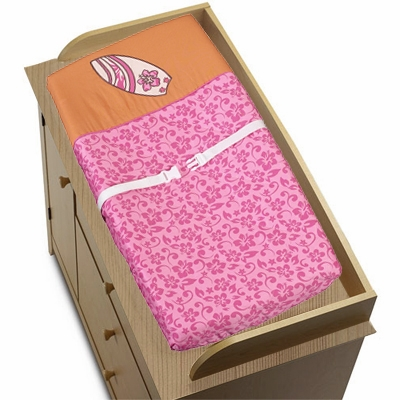Surf Pink and Orange Changing Pad Cover