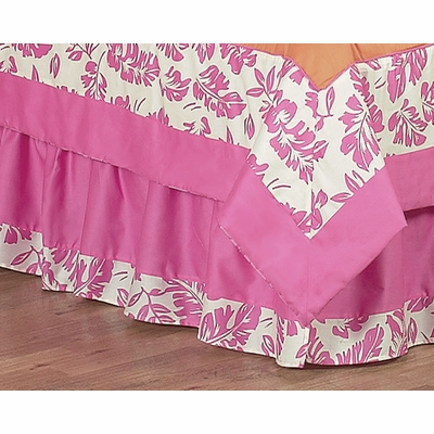 Surf Pink and Orange Queen Bed Skirt