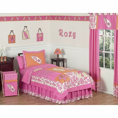 Surf Pink and Orange Twin Bedding Collection