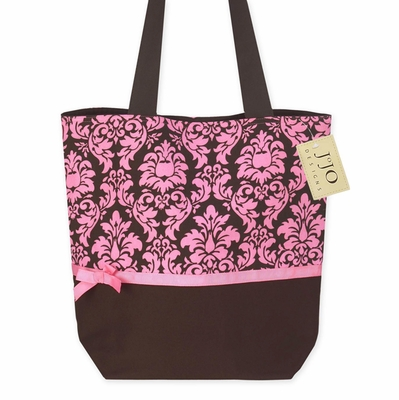 Pink and Brown Damask Print Spa Tote Handbag