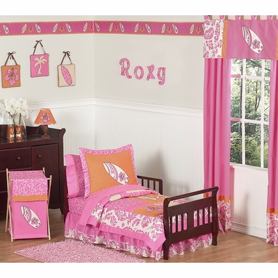 Surf Pink and Orange Toddler Bedding Collection