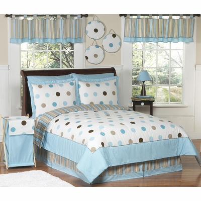 Mod Dots Blue Twin Bedding Collection