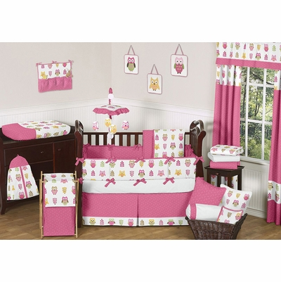 Owl Pink Crib Bedding Collection