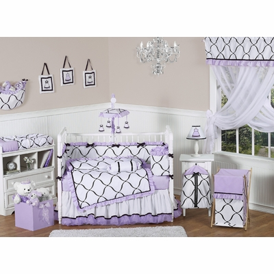 Princess Black, White and Purple Crib Bedding Collection