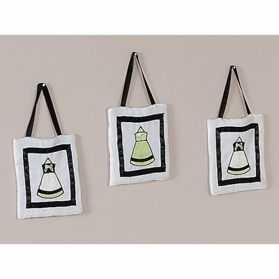 Princess Black, White and Green Collection Wall Hangings