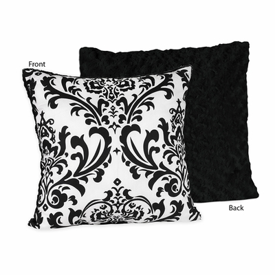 Isabella Damask and Minky Swirl Decorative Accent Throw Pillow