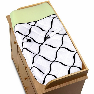 Princess Black, White and Green Collection Changing Pad Cover