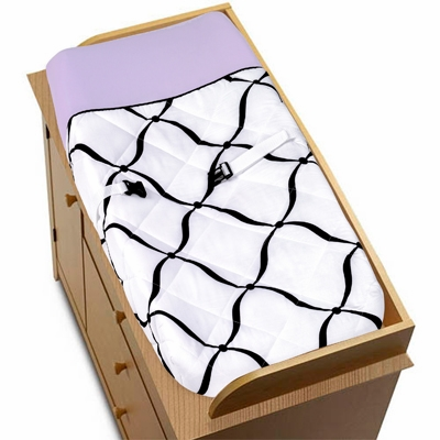 Princess Black, White and Purple Collection Changing Pad Cover
