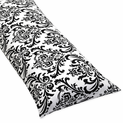 Isabella Hot Pink, Black and White Collection Damask Full Length Body Pillow Cover