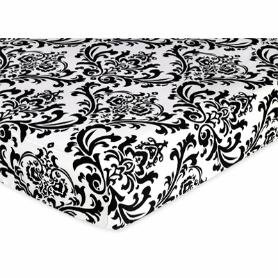 Isabella Black and White Collection Fitted Crib Sheet - Damask Print